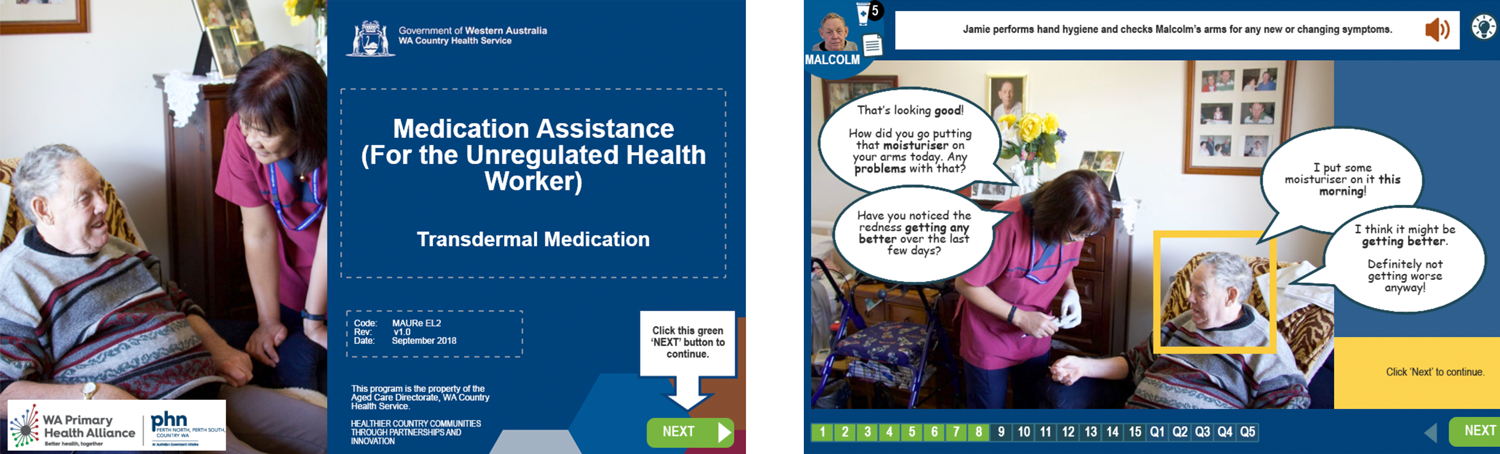 Online case study showing medication elearning