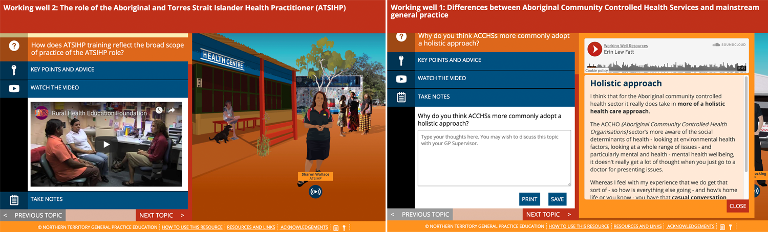 Embedded video and transcripts for peers to share their stories and experiences of working with Aboriginal anmd Torres Strait Islander Community Controlled health services