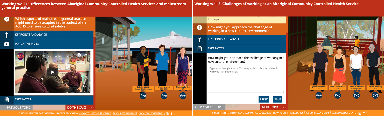 Image capture of the design of the Working Well cultural awareness elearning course