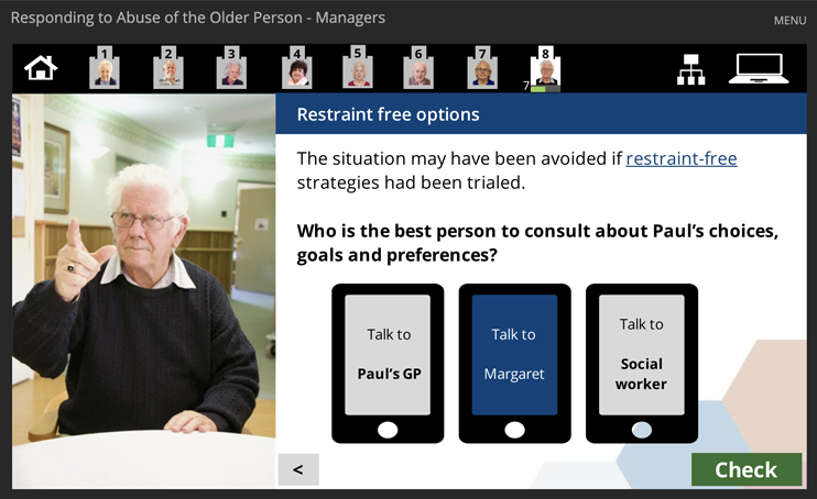 Elder abuse prevention and checmical restraint elearning modules for aged care workers